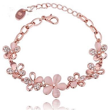 abordables Bracelet-Chaînes Bracelets Femme Diamant Zircon Blanc Strass Plaqué or Béni Mode Elégant Bracelet Bijoux Dorée Rose Forme Géométrique pour Cadeau Quotidien