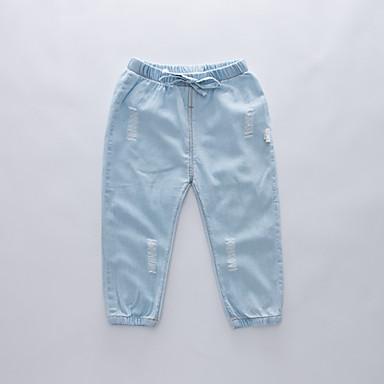 baratos Jeans Para Meninos-Infantil Para Meninos Básico Moda de Rua Sólido Buraco rasgado Com Cordão Algodão Jeans Azul Claro