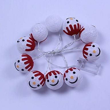 2m יצירתי איש שלג מחרוזת אורות 10 מדים חם לבן חג המולד פסטיבל קישוט aa סוללות מופעל 1 סט