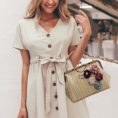 cheap Going to the beach-Women's Bags Straw Top Handle Bag Flower Black / Beige / Khaki / Straw Bag