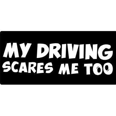 מדבקה רכב רפלקטיבית נהיגה שלי מפחיד אותי גם אותיות אזהרה מדבקות