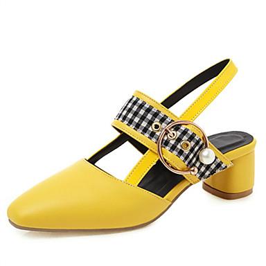 voordelige Damessandalen-Dames Sandalen Vierkante teen schoenen Blokhak Vierkante Teen Imitatieparel / Gesp PU Lente & Herfst Wit / Zwart / Geel / Bruiloft / Kleurenblok
