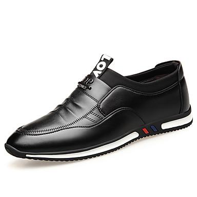בגדי ריקוד גברים נעלי עור עור אביב קיץ בריטי נעליים ללא שרוכים ללא החלקה שחור / חום