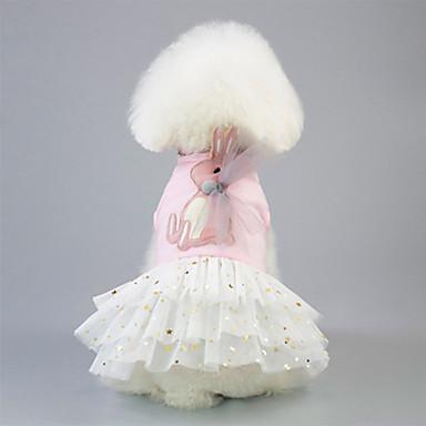 כלבים שמלות בגדים לכלבים חיה לבן ורוד כותנה / פוליאסטר תחפושות עבור אביב, סתיו, חורף, קיץ שמלות וחצאיות