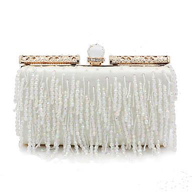 billige Vesker-Dame Perlearbeid / Dusk polyester / Legering Aftenveske Hvit / Høst vinter