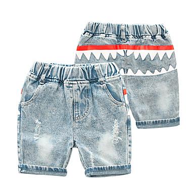 baratos Calças para Meninos-Infantil Para Meninos Básico Punk & Góticas Estampado Estampa Colorida Com Corte Buraco rasgado Algodão Jeans Azul Claro