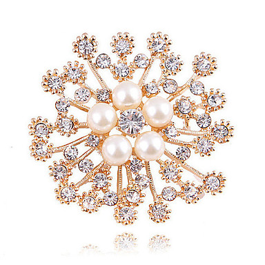 cheap Brooches-Women's Synthetic Diamond Brooches Imitation Pearl Flower Ladies Classic Fashion fancy Brooch Jewelry Gold For Wedding Daily Masquerade Engagement Party Prom Date