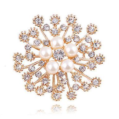 levne Módní brože-Dámské Syntetický diamant Brože Kytky dámy Klasické Módní ozdobný Napodobenina perel Brož Šperky Zlatá Pro Svatební Denní Plesová maškaráda Zásnuby Maturitní ples Rande