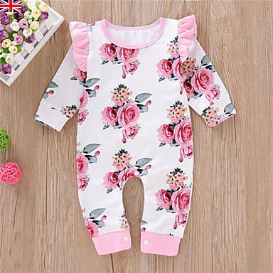 billige Babydrakter-Baby Jente Aktiv / Grunnleggende Blomstret Trykt mønster Langermet Kjeledress og jumpsuit Hvit