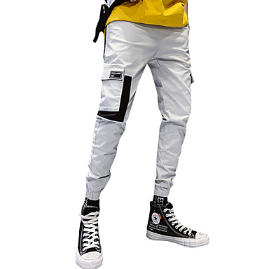 בגדי ריקוד גברים ספורטיבי / סגנון רחוב סקיני Jogger / צ'ינו מכנסיים - אחיד כותנה שחור ירוק צבא אפור XL XXL XXXL