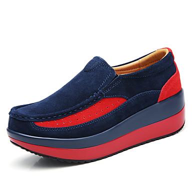 בגדי ריקוד נשים נעליים ללא שרוכים מטפסים בוהן עגולה סוויד וינטאג' / בריטי הליכה קיץ & אביב / סתיו חורף שחור / אדום / כחול כהה / קולור בלוק / יומי
