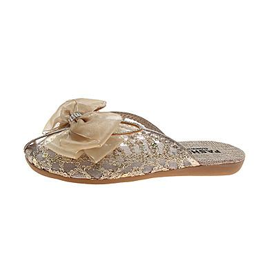 voordelige Damespantoffels & slippers-Dames Slippers & Flip-Flops Platte hak Kant Zomer Goud / Zilver