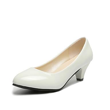 voordelige Dameshakken-Dames Hoge hakken Suede schoenen Cuba-hak Ronde Teen PU Klassiek Lente zomer / Herfst winter Zwart / Beige / Rood