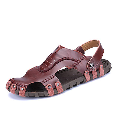 cheap Featured Deals-Men's Comfort Shoes Cowhide Spring & Summer Casual Sandals Breathable Black / Brown / Burgundy