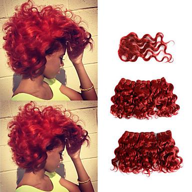 6 צרורות עם סגירה שיער ברזיאלי מתולתל שיער אנושי תוספות שיער משיער אנושי מארג שיער Weft עם סגירה 8 אִינְטשׁ אדום שוזרת שיער אנושי נשים extention איכות מעולה תוספות שיער אדם