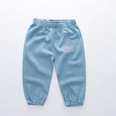 baratos Jeans Para Meninos-Infantil Para Meninos Activo Básico Sólido Bordado Algodão Jeans Azul Claro