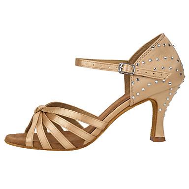 baratos Sapatos de Salsa-Mulheres Sapatos de Dança Cetim Sapatos de Dança Latina Cristal / Strass / Recortes Salto Salto Carretel Personalizável Amêndoa / Espetáculo / Couro