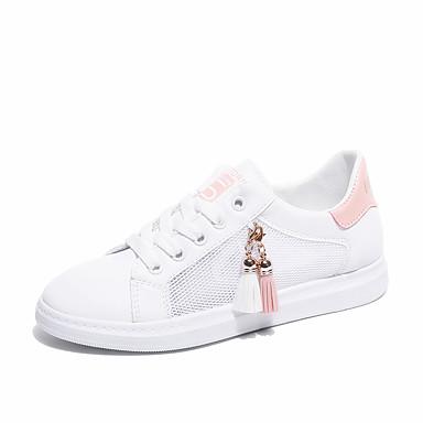 בגדי ריקוד נשים רשת אביב קיץ נעלי ספורט שטוח ורוד ולבן / שחור לבן