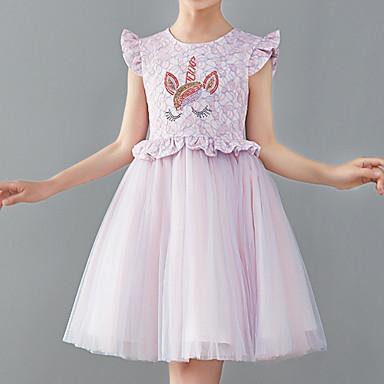 baratos Vestidos para Meninas-Infantil Para Meninas Activo Rosa empoeirada Sólido Estampado Sem Manga Altura dos Joelhos Vestido Branco