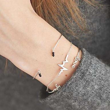 voordelige Armband-3 stuks Heren Dames Zwart Synthetische Diamant Meerlaags Alfabetvorm Hartritme Stijlvol Uniek ontwerp modieus Modieus Acryl Armband sieraden Goud Voor Dagelijks Straat Festival