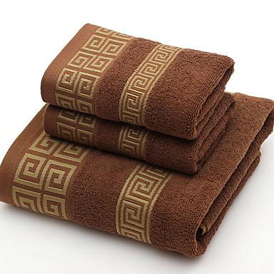 billige Håndklær og morgenkåper-Overlegen kvalitet Vaskehåndklæ, Geometrisk Ren bomull Baderom 2 pcs