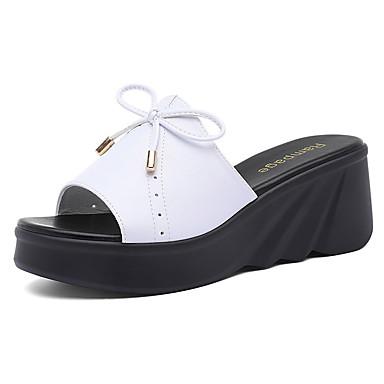 voordelige Damespantoffels & slippers-Dames Slippers & Flip-Flops Slippers Sleehak Synthetisch Zoet / minimalisme Lente & Herfst / Zomer Wit / Zwart