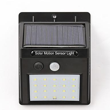 billige Utendørsbelysning-1pc 5 W Solar Wall Light Vanntett / Solar / Motion Detection Monitor Hvit 5 V Utendørsbelysning / Courtyard / Have 20 LED perler