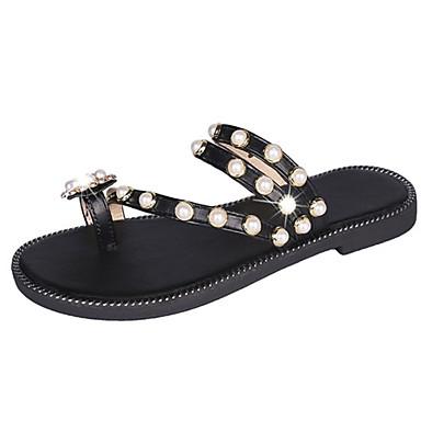 voordelige Damespantoffels & slippers-Dames Slippers & Flip-Flops Platte hak Strass PU Informeel Zomer Wit / Zwart