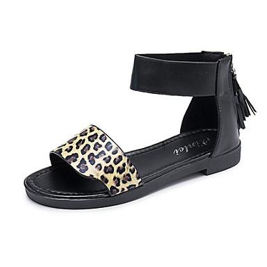 povoljno Ženske sandale-Žene PU Ljeto Sandale Ravna potpetica Pink / Crvena / Leopard