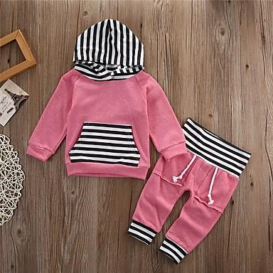 hesapli Bebek Kıyafet Setleri-Bebek Genç Kız Actif / Temel Solid / Çizgili Kırk Yama Uzun Kollu Normal Normal Kıyafet Seti Yonca