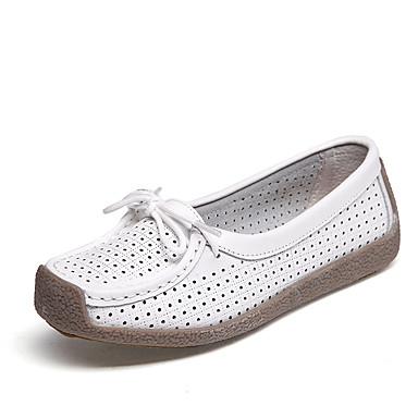 בגדי ריקוד נשים נעליים ללא שרוכים שטוח בוהן עגולה עור סגנון סיני / מִעוּטָנוּת הליכה קיץ & אביב / קיץ לבן / צהוב / אדום / יומי