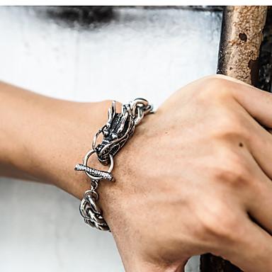 abordables Bracelet-Chaînes Bracelets Bracelet Chaîne Homme Bicolore Acier au titane Pneu Elégant Punk Branché Bracelet Bijoux Dorée Argent pour Soirée Cadeau Quotidien Carnaval