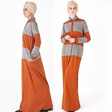 לבוש מסורתי ותרבותי Abaya בגדי ריקוד נשים לבוש יומיומי פוליאסטר מפרק מפוצל שרוול ארוך עבאיה
