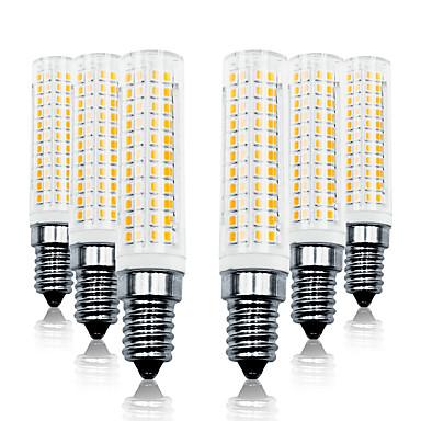 abordables Ampoules électriques-Loende 6 pack 11w gradation led maïs lumières 110-130v 200-240v 750lm e14 136leds led lampe smd2835 blanc / blanc chaud