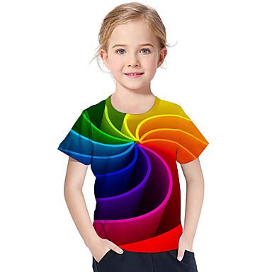 baratos Blusas para Meninas-Infantil Bébé Para Meninas Activo Básico Geométrica Estampado Estampa Colorida Estampado Manga Curta Camiseta Arco-íris