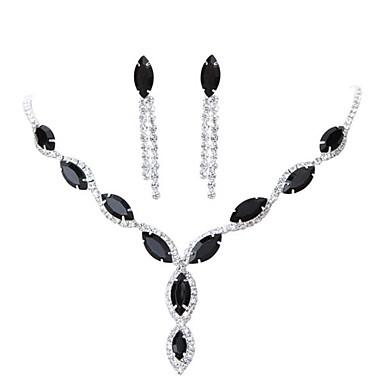 hesapli Takı Seti-Kadın's Kübik Zirconia Vidali Küpeler Kolye Şık Klasik Küpeler Mücevher Mor / Kırmzı / Siyah Uyumluluk Nişan Festival 1set