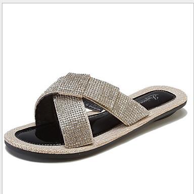 Kadın's Sandaletler Düz Taban Yuvarlak Uçlu Taşlı PU Yaz Siyah / Gümüş
