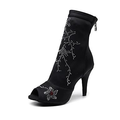 baratos Shall We® Sapatos de Dança-Mulheres Tecido elástico Botas de Dança Gliter com Brilho Salto Salto Alto Magro Personalizável Preto