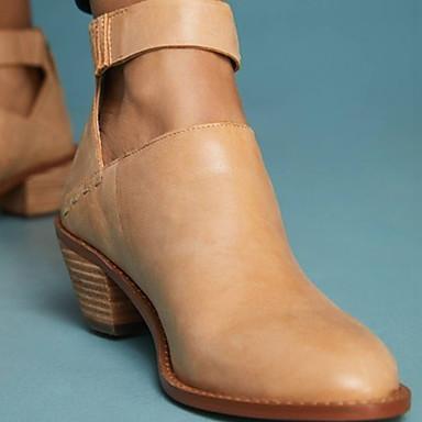 voordelige Dameslaarzen-Dames Laarzen Lage hak Ronde Teen PU Korte laarsjes / Enkellaarsjes Zomer Zwart / Donker Grijs / Kameel