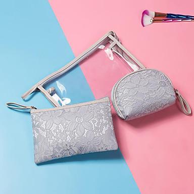 billige Vesker-PVC Glidelås Kosmetisk Bag Helfarge Daglig Blek Blå / Himmelblå / Rosa / Høst vinter