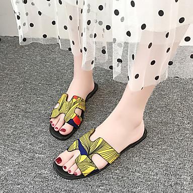 voordelige Damespantoffels & slippers-Dames Slippers & Flip-Flops Platte hak PU Zomer Zwart / Zwart / Geel / Wit