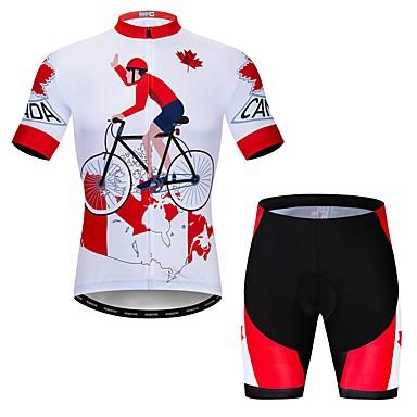 WEIMOSTAR Yenilik Kanada Erkek Kısa Kollu Şortlu Bisiklet Forması - Kırmzı Bisiklet Giysi Takımları Nefes Alabilir Hızlı Kuruma Spor Dalları Elastane Terylene Dağ Bisikletçiliği Yol Bisikletçiliği