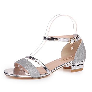 Kadın's Sandaletler Düşük Topuk Burnu Açık Payet PU Klasik Yürüyüş Yaz Altın / Gümüş