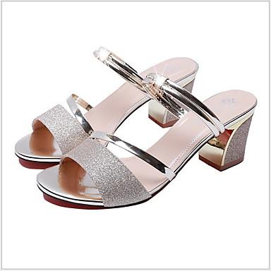 Kadın's Sandaletler Kalın Topuk Burnu Açık Kristal PU İlkbahar & Kış / Yaz Siyah / Altın / Gümüş