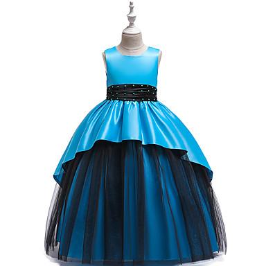 preiswerte Kleider für Mädchen-Kinder Mädchen Aktiv Süß Solide Spitze Ärmellos Maxi Kleid Beige