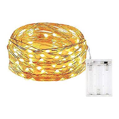 billige Dekorativ belysning-10 m Lysslynger 100 LED SMD 0603 Varm hvit / Hvit / Multifarget Vanntett / Fest / Dekorativ Batterier drevet 1pc