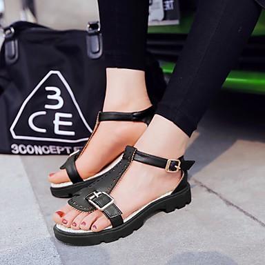 Kadın's Sandaletler Düz Taban Açık Uçlu Toka Suni Deri Günlük / Tatlı Yürüyüş Yaz / İlkbahar yaz Siyah / Açık Pembe / Bej