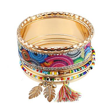 abordables Bracelet-8pcs Parure Bracelet Femme Creux Acier inoxydable Arc-en-ciel Bohème Coloré Hippie Bracelet Bijoux Arc-en-ciel Rond pour Mariage Ecole Soirée