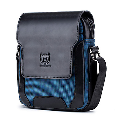 cheap Men's Bags-Men's Zipper Nappa Leather / Cowhide Crossbody Bag Color Block Red / Dark Blue / Coffee / Fall & Winter