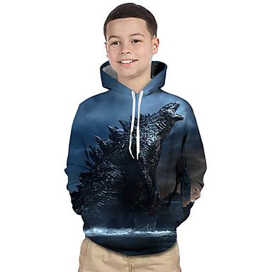 baratos Moletons Para Meninos-Infantil Bébé Para Meninos Activo Básico Geométrica Estampado Estampa Colorida Estampado Manga Longa Moleton & Blusa de Frio Azul